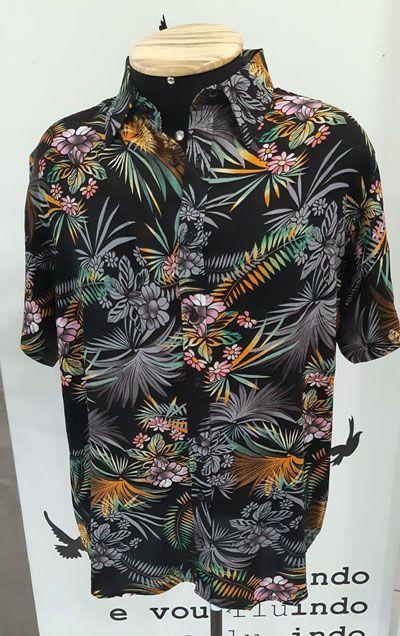 Camisa de Botão Floral Viscose Polinésia