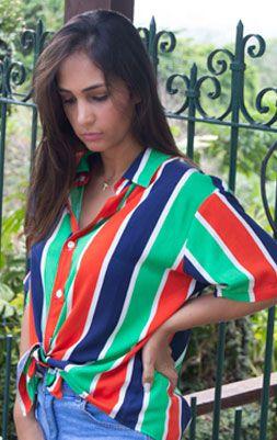 Camisa Feminina Viscose Listrada - Azul, Verde, Laranja