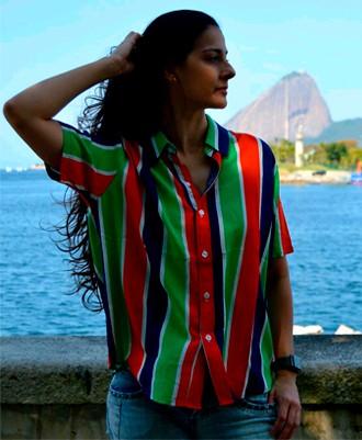 Camisa Viscose Listrada - Azul, Verde, Laranja