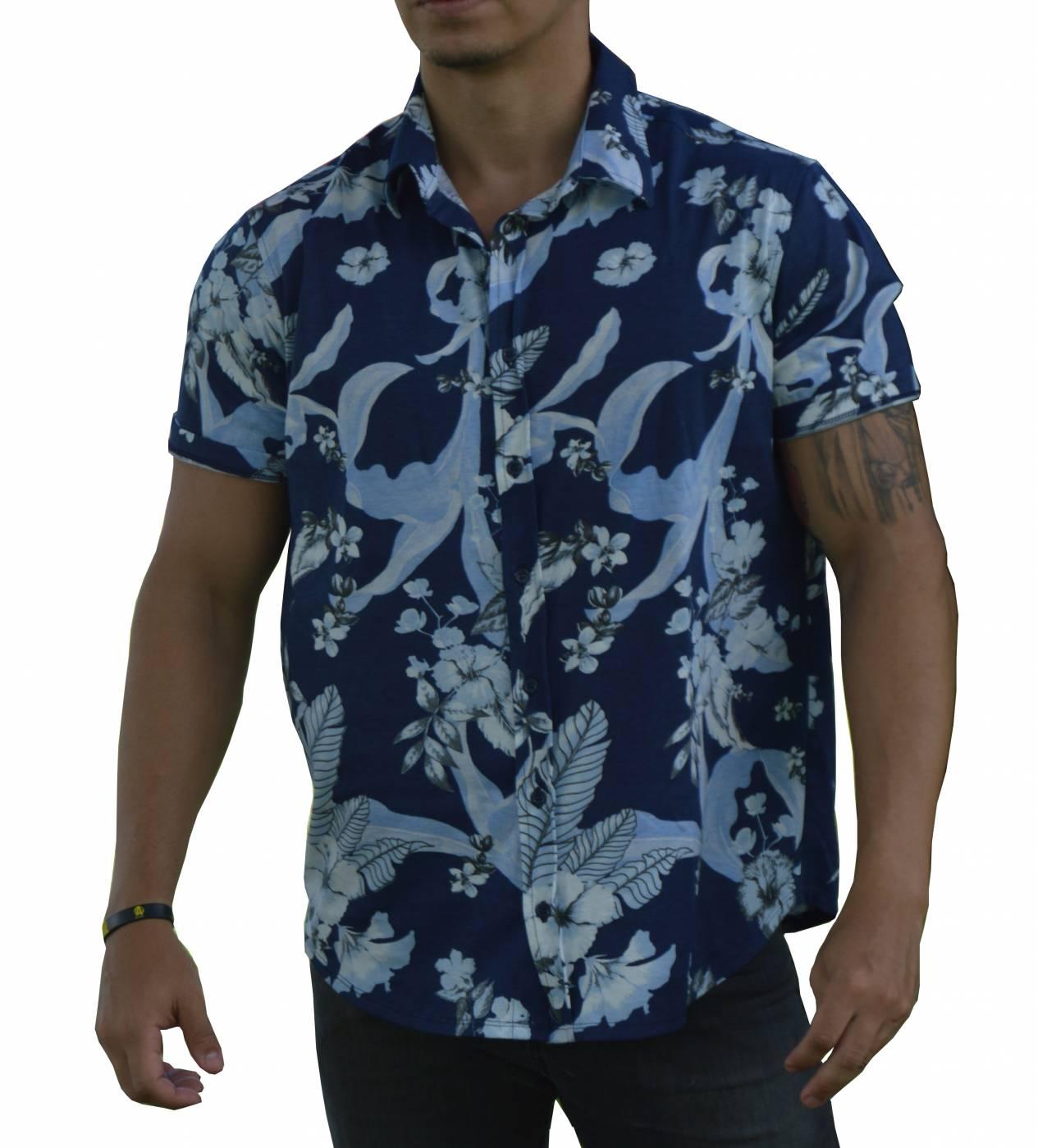 Camisa Floral Masculina Azul - Algodão