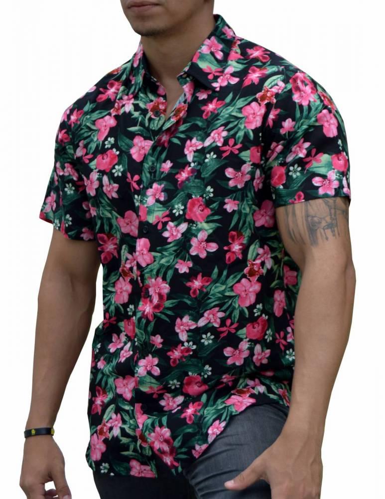 0af0e3d641 Camisa Floral Masculina Orquídeas Rosas