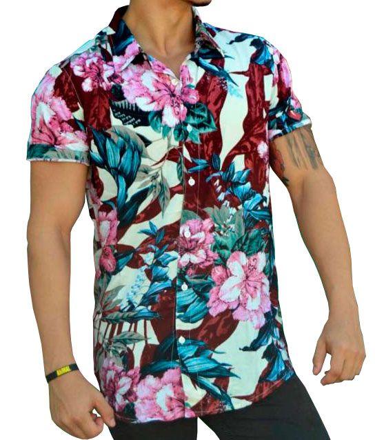 Camisa Floral Masculina Rosa, Vinho e Azul