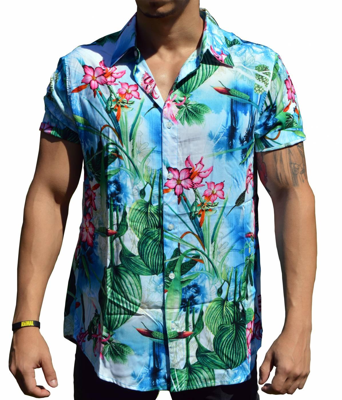 Camisa Floral Masculina Tropical Azul