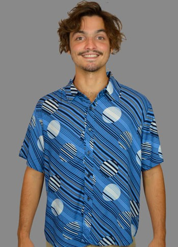 Camisa Home Office Azul - Listras com Pois