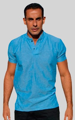 Camisa Índigo Azul Gola Padre Dois Botões - Manga Curta
