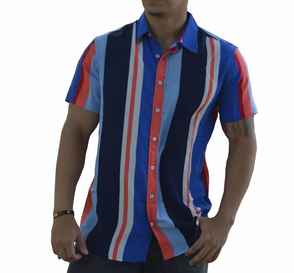 Camisa Listrada Masculina Azul e Vermelho - 100% Viscose