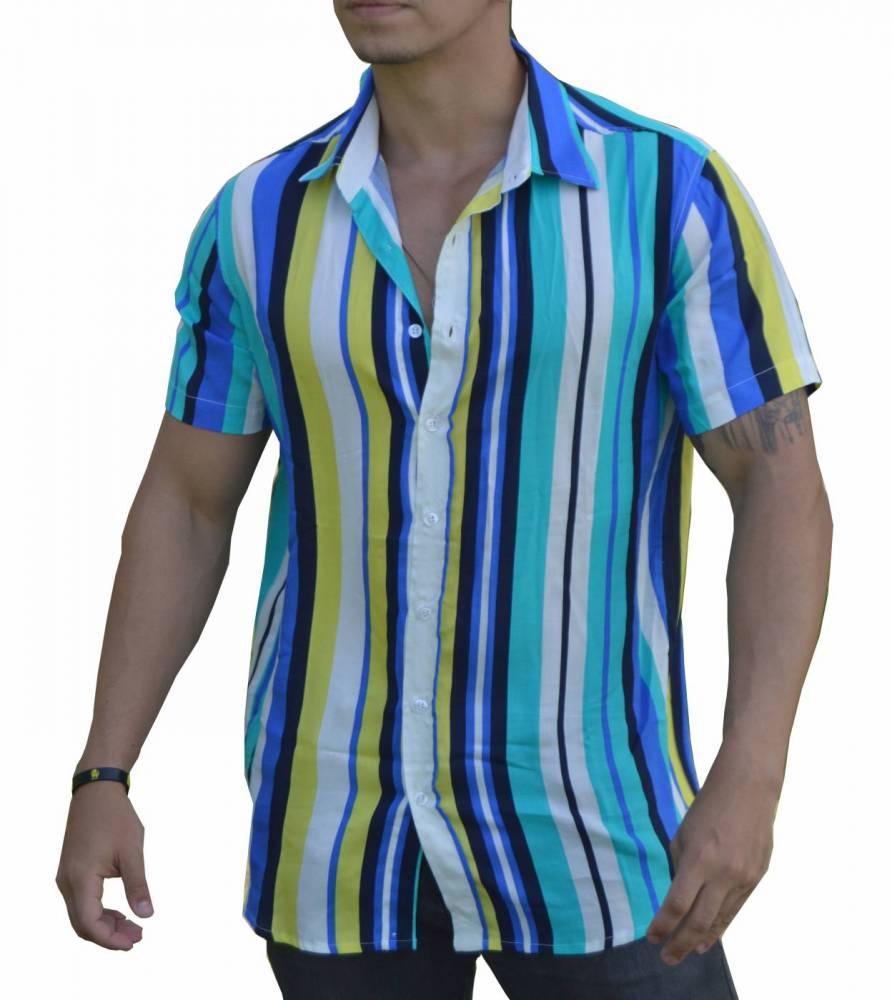 Camisa Listrada Masculina Cores - 100% Viscose