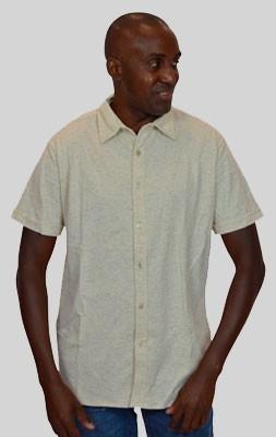 Camisa Malha Linho Creme - Manga Curta