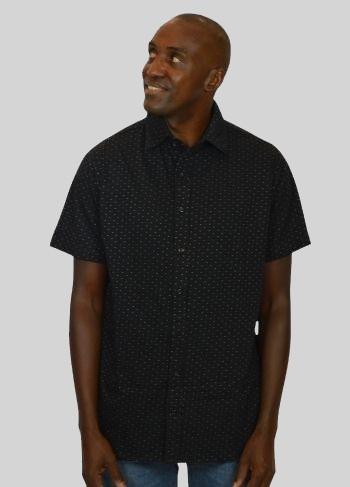 Camisa Malha Preta Capri Manga Curta