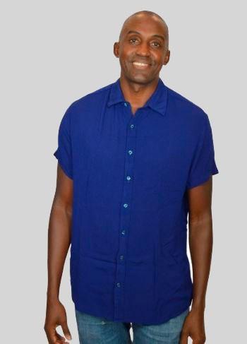 Camisa Masculina Viscose Creponada Azul Royal