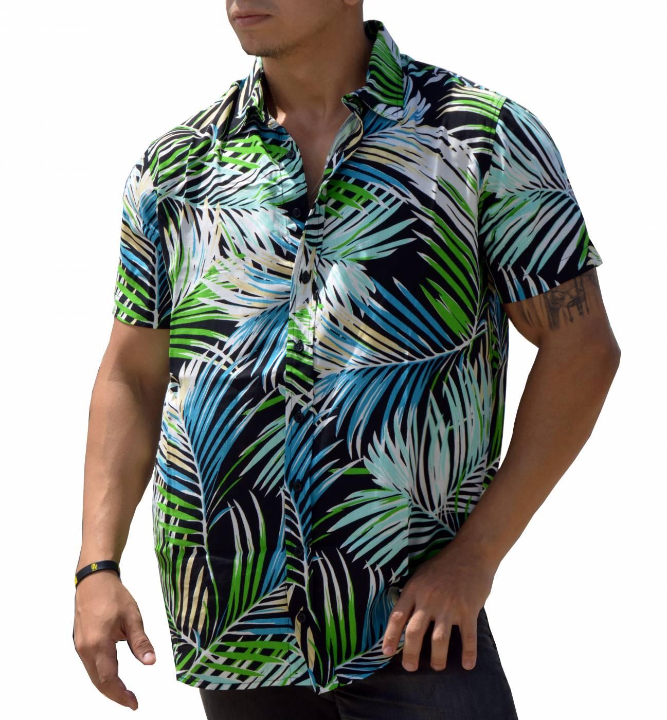 Camisa Masculina Viscose Estampa Folhagens