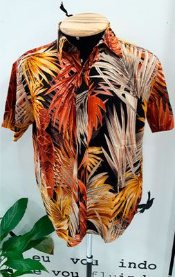 Camisa Masculina Viscose Folhagens Laranja