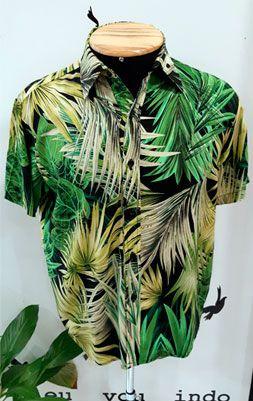 Camisa Masculina Viscose Folhagens Verde