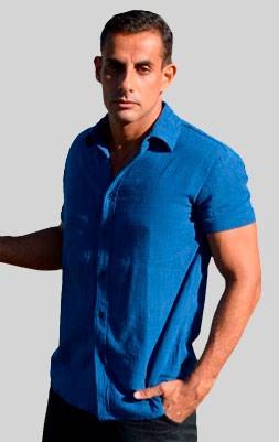Camisa Trend Azul Royal - Manga Curta