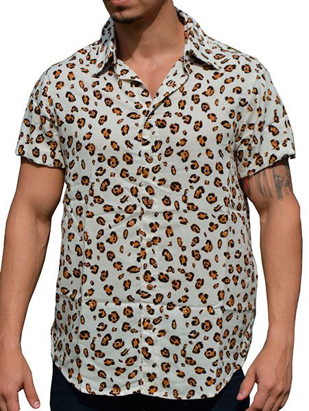 Camisa Viscose Animal Print Fundo Claro
