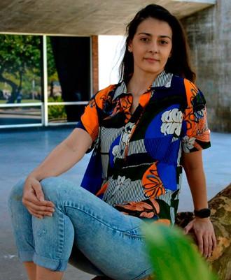 Camisa Viscose Feminina Floral Abstrato