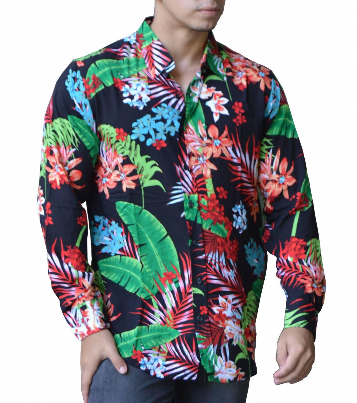 Camisa Viscose Manga Longa - Flores e Folhas de Bananeira