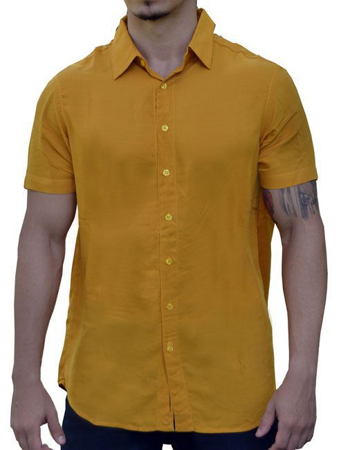 Camisa Viscose Masculina Mostarda
