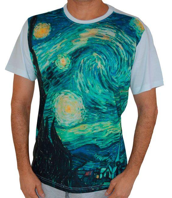 Camiseta A Noite Estrelada - Vincent van Gogh - Branca