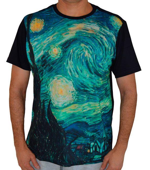 Camiseta A Noite Estrelada - Vincent van Gogh - Preta
