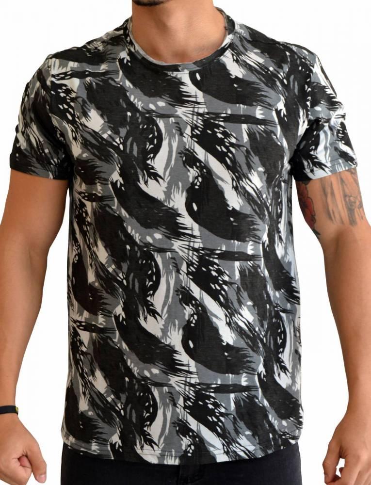 Camiseta Camuflada Exército - Cinza