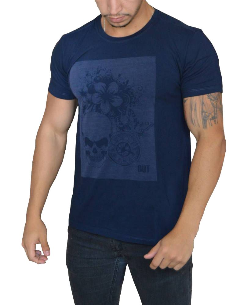 Camiseta Caveira Flores Bússula Laser - Azul Marinho