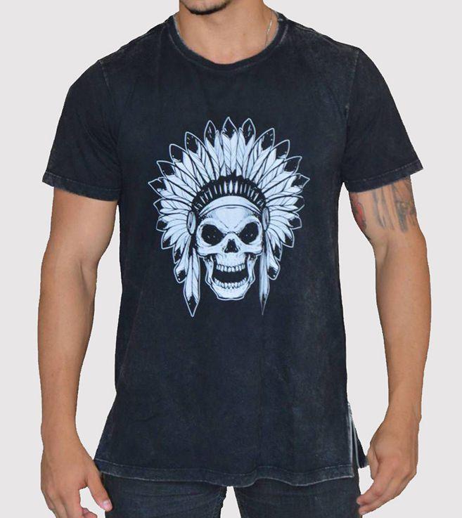 Camiseta Caveira Indígena com Fecho nas Laterais