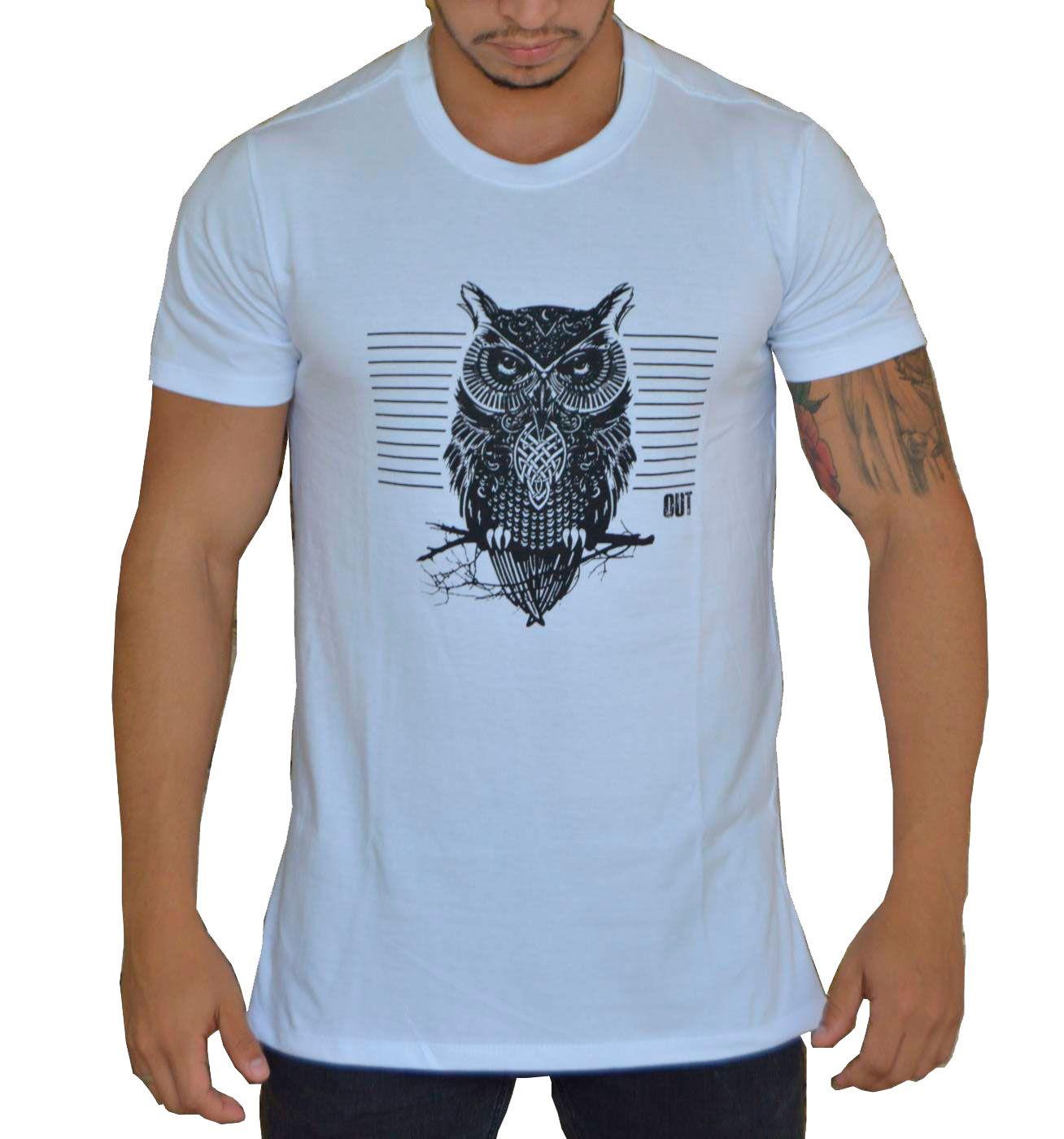 Camiseta Coruja com Fecho nas Laterais - Branca