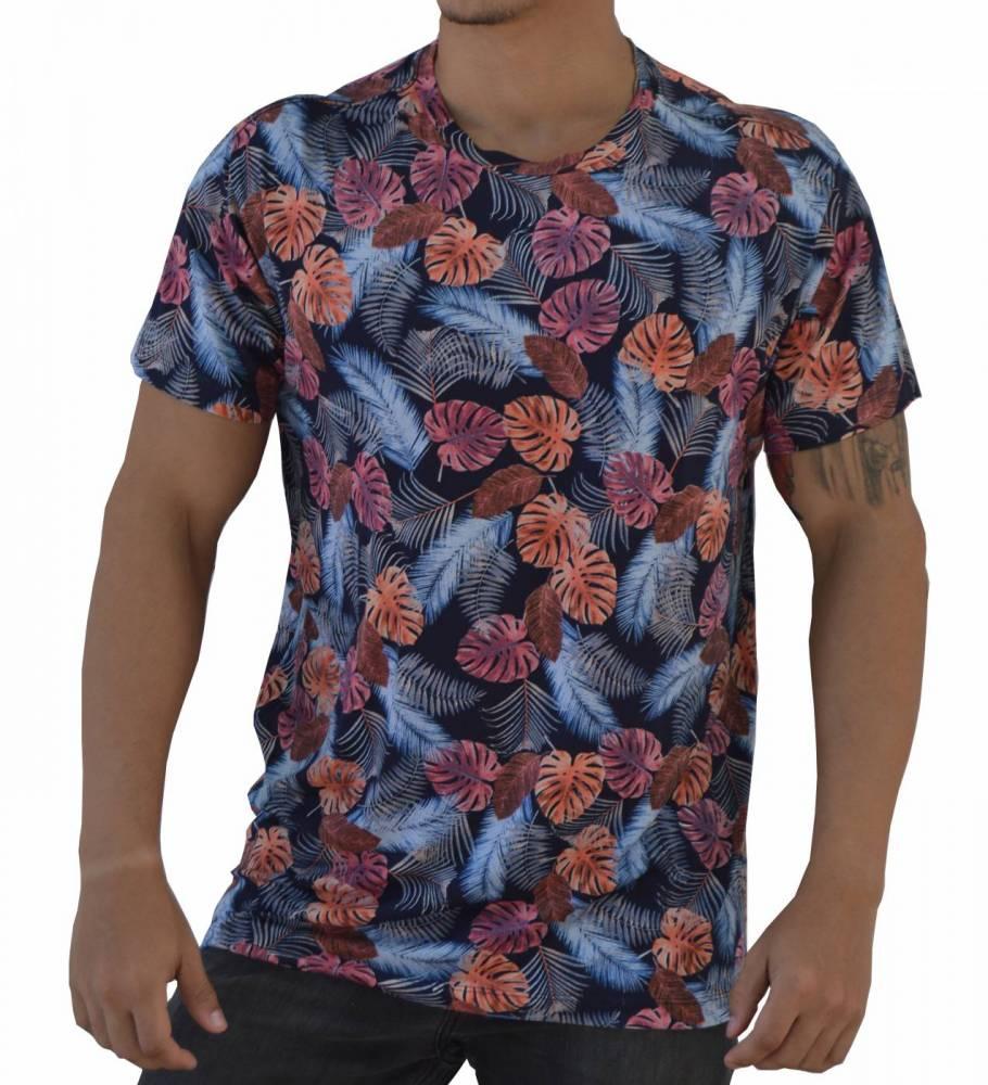 Camiseta Floral Masculina Azul Costela de Adão Laranja