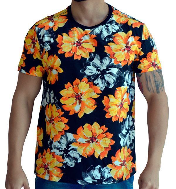 Camiseta Floral Masculina - Flores Laranjas e Brancas
