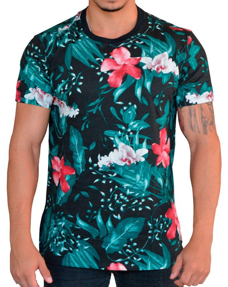 Camiseta Floral Masculina - Vermelho, Branco e Verde