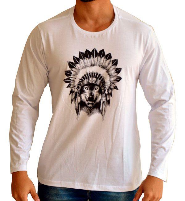 Camiseta Lobo Apache - Manga Longa