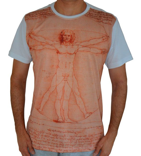 Camiseta O Homem Vitruviano - Leonardo da Vinci - Branca