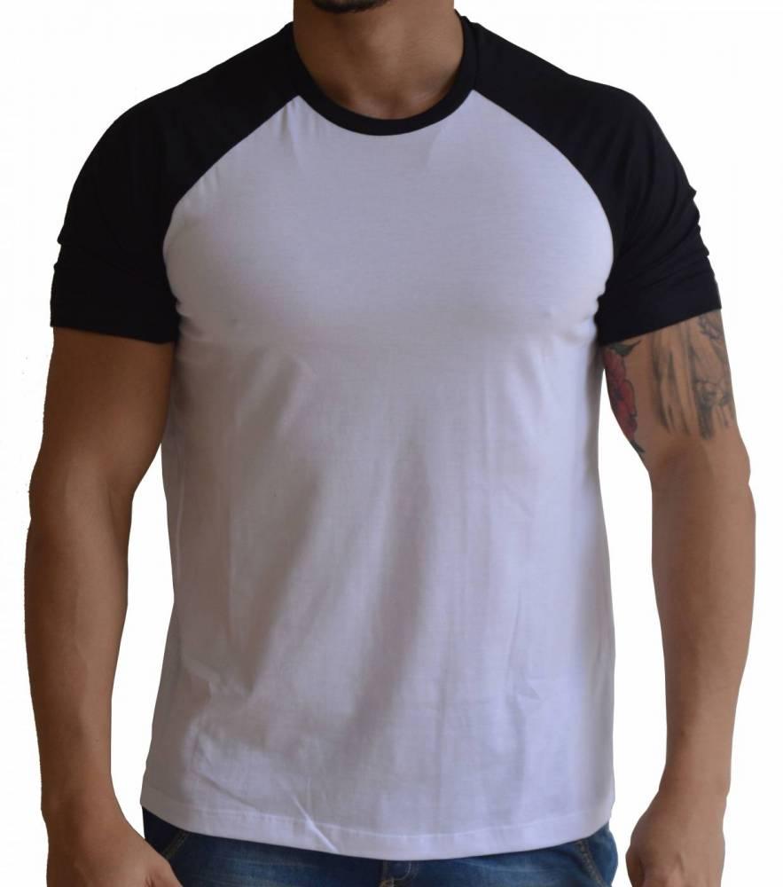Camiseta Raglan Branca e Preta Básica