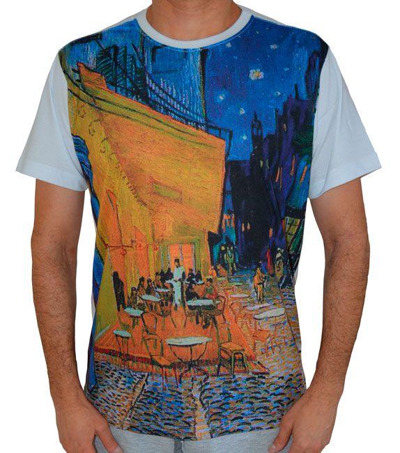 Camiseta Terraço do Café à Noite - Vincent van Gogh - Branca