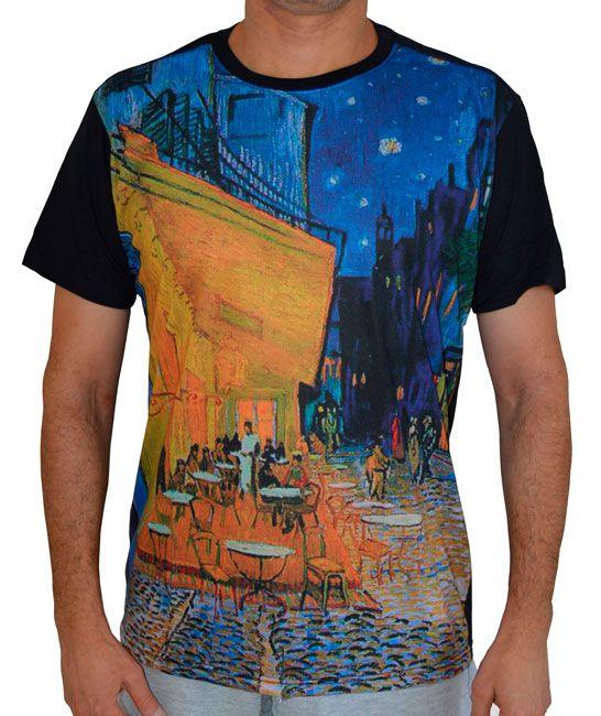 Camiseta Terraço do Café à Noite - Vincent van Gogh - Preta