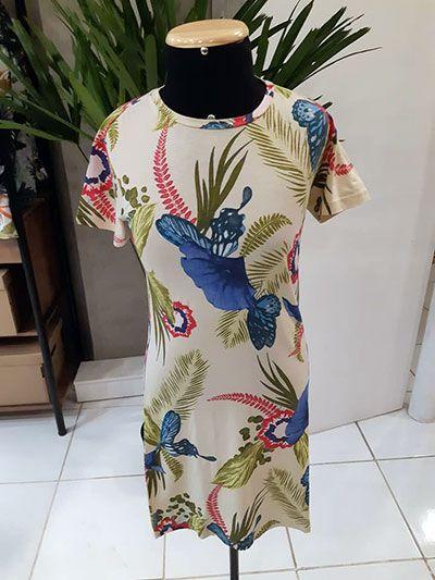 T-shirt Dress Floral Verão Vinte Vinte Malha Estampado