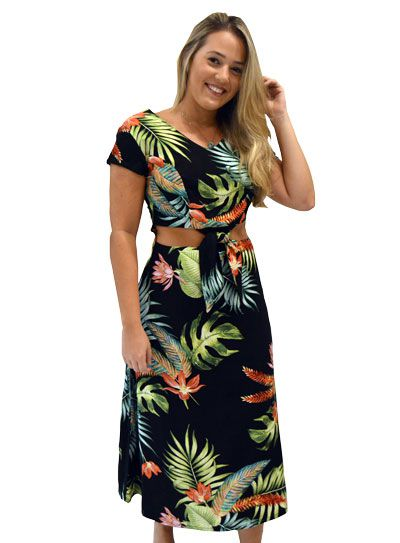 Vestido Floral Verão com Decote e Amarração na Cintura