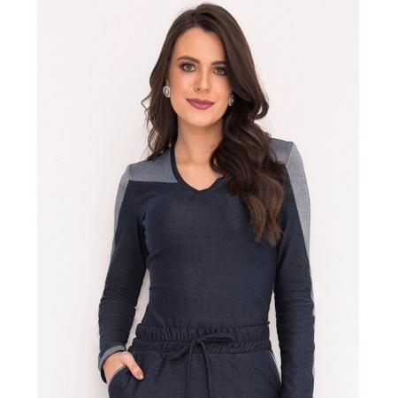 Blusa Malha Denin Com Recortes - Laura Rosa