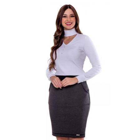 Blusa Sandra De Malha Canelada, Moda Evangélica - Hapuk