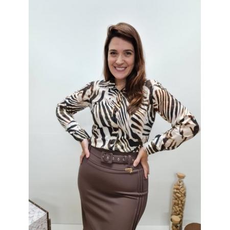 Camisa Viscose Estampada Tigre - Cechiq