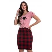 Conjunto Bianca Com Perolas E Saia Xadrez, Moda Evangélica - Hapuk