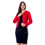 Jaqueta Amanda Em Sarja Jeans Colorida, Moda Evangélica - Hapuk