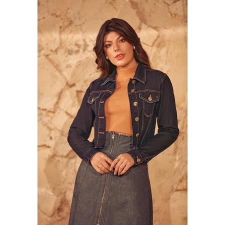 Jaqueta Jeans Com Abotoamento, Moda Evangélica - Via Tolentino