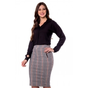 Saia Aline Bengaline Xadrez, Moda Evangélica - Hapuk