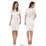 Saia Jeans Branca com Zíper Frontal