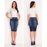 Saia Jeans Com Bordado No Bolso - Laura Rosa