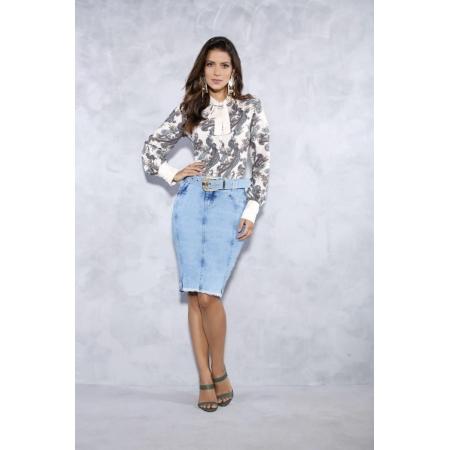 Saia Jeans Com Costura Frontal - Titanium