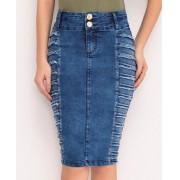 Saia Jeans Com Desfiado Na Lateral - Laura Rosa