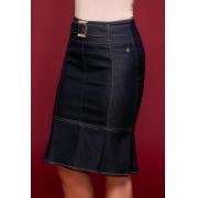Saia Jeans com Pregas - Via Tolentino